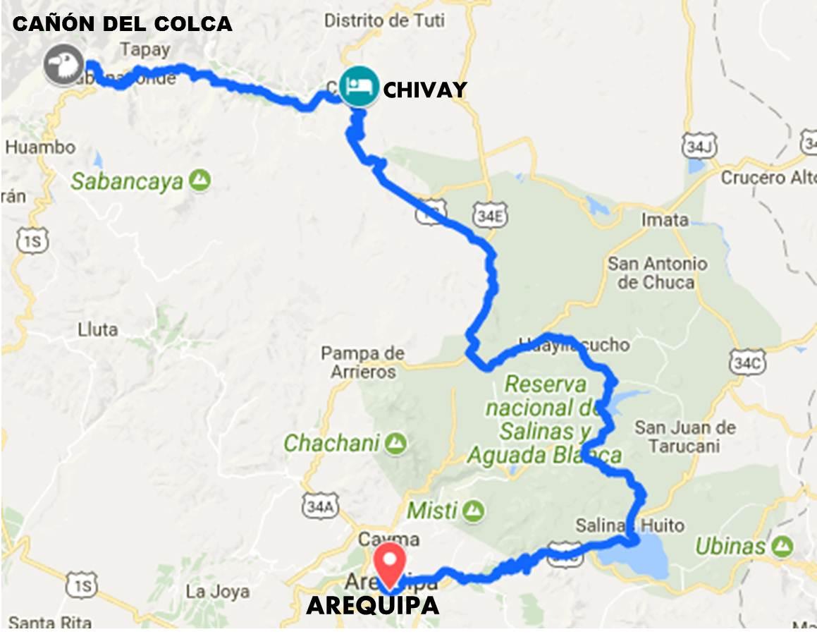 Resultado de imagen para mapa turistico de cañon de colca 2 dias 1 noche